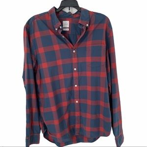Gap Lived In Plaid Blue Red Button Down Shirt
